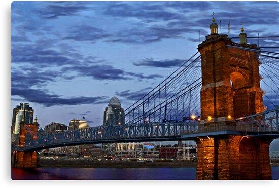 Roebling Bridge Cincinnati by Phil Campus