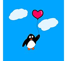 Penguin with Heart Balloon Photographic Print