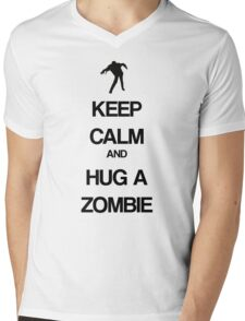 Keep Calm and Hug a Zombie Mens V-Neck T-Shirt