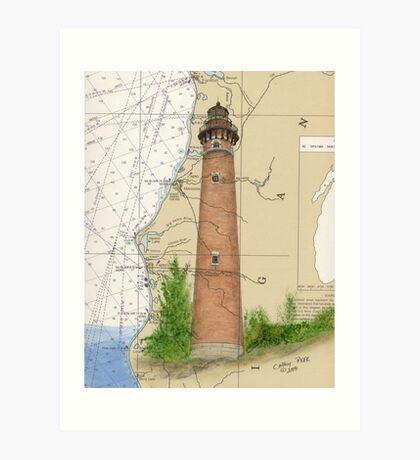 Little Sable Lighthouse MI Chart Cathy Peek Art Print