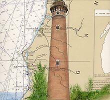 Little Sable Lighthouse MI Chart Cathy Peek by Cathy Peek