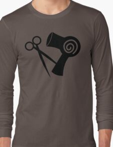 Hairdryer and scissors hairstylist Long Sleeve T-Shirt