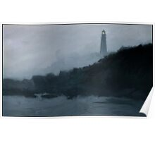 Portland Headlight in the fog Poster