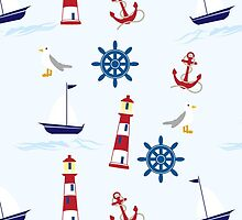 Nautical Pattern (Marine Pattern) - Blue Red White by sitnica