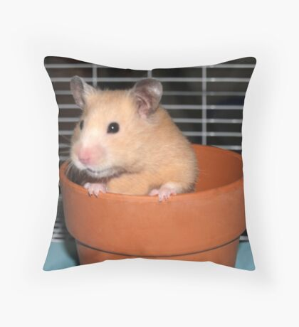 Potted Hamster Throw Pillow