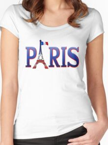 Paris - Eiffel Tower in Blue, White and Red Women's Fitted Scoop T-Shirt