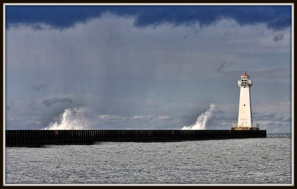 Stormy Waves at the Sodus Point Light by Mikell Herrick