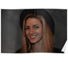 Le chapeau, la femme, le sourire, la beauté Poster