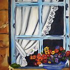 435 Pansies in window by Gerda  Smit