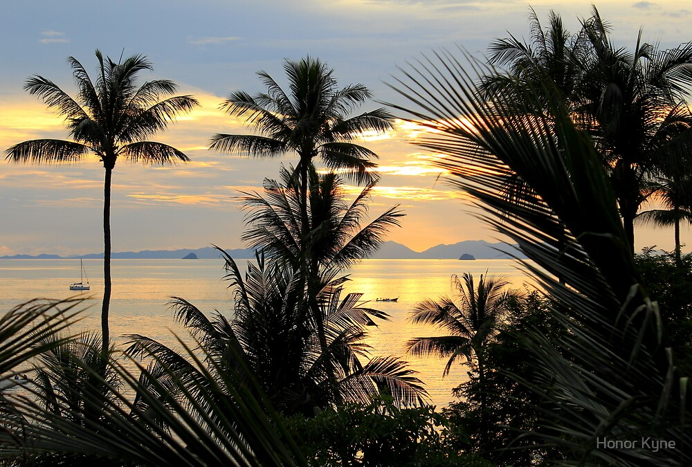 Thai Palm Sunset - Railay West by Honor Kyne