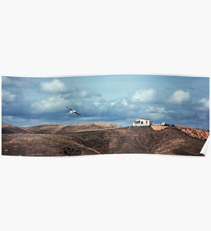 Flying boat over golf club house  19650800 0012  Poster