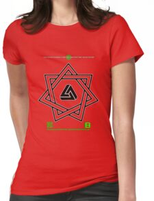 NOV 2012 MERCH 777 IMPOSSIBLE CROP CIRCLE TRIANGLE IN SEVEN POINTED STAR BLACK WITH CEWDI QRCODE Womens Fitted T-Shirt