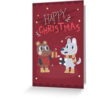 Christmas Friends Giving Gifts Greeting Card