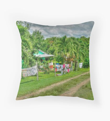 Laundry Day in Bullet Tree Falls Village - Belize, Central America Throw Pillow