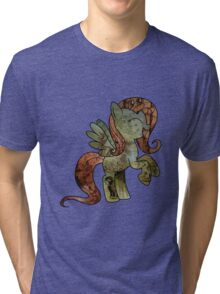 Fluttershy woodart collage Tri-blend T-Shirt