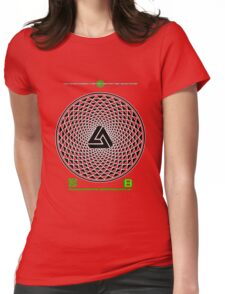 NOV 2012 MERCH PHI 777 IMPOSSIBLE CROP CIRCLE TRIANGLE BLACK WITH CEWDI QRCODE Womens Fitted T-Shirt