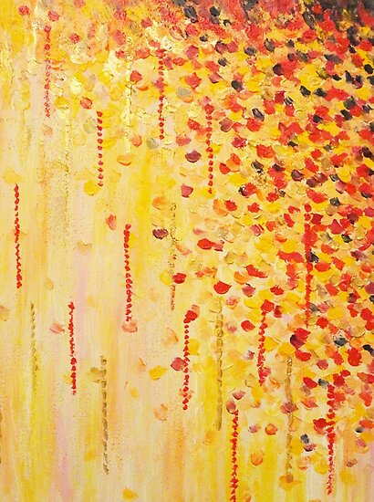 WHEN IT FALLS Bold Autumn Winter Leaves Abstract Acrylic Painting Christmas Red Orange Gold Gift by EbiEmporium