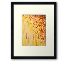 WHEN IT FALLS Bold Autumn Winter Leaves Abstract Acrylic Painting Christmas Red Orange Gold Gift Framed Print