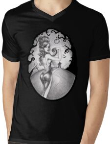Claire, the cat and the moon Mens V-Neck T-Shirt