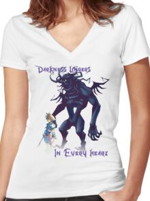 """""""Darkness Lingers in Every Heart"""" Kingdom Hearts Women's Fitted V-Neck T-Shirt"""
