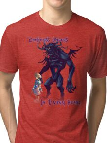 """""""Darkness Lingers in Every Heart"""" Kingdom Hearts Tri-blend T-Shirt"""