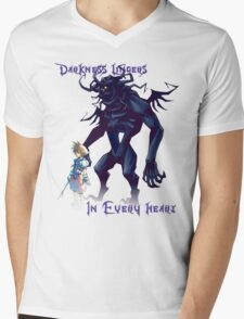 """Darkness Lingers in Every Heart"" Kingdom Hearts Mens V-Neck T-Shirt"