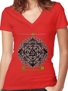 NOV 2012 MERCH HYPER PHI 777 IMPOSSIBLE CROP CIRCLE TRIANGLE BLACK WITH CEWDI QRCODE Women's Fitted V-Neck T-Shirt
