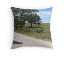 On my way home & horses enjoying the shade. Mt. Pleasant, S.A. Throw Pillow