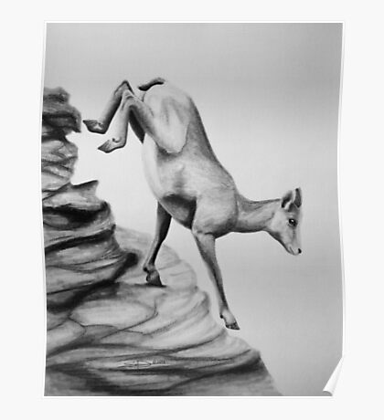 Bighorn Sheep - Charcoal painting Poster