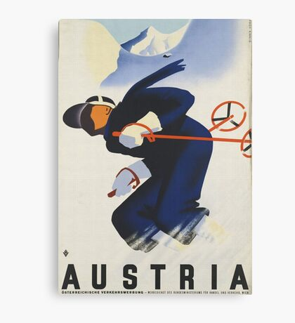 Ski Austria Travel Poster Canvas Print