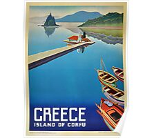 Greece - Corfu Travel Poster Poster