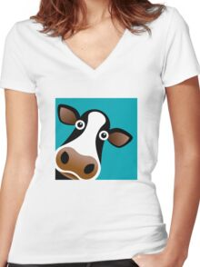 Moo Cow - T Shirt Women's Fitted V-Neck T-Shirt