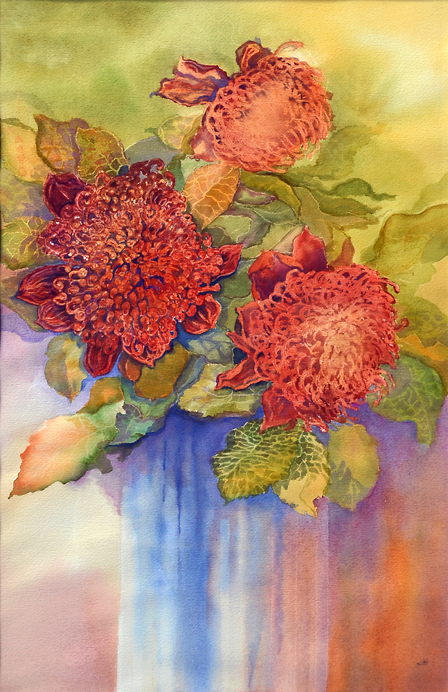 Waratah 2 canvas by Carol McLean-Carr