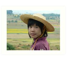 Girl on buffalo, Shan State, Myanmar Art Print