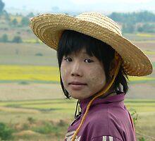 Girl on buffalo, Shan State, Myanmar by Intrepidjoan