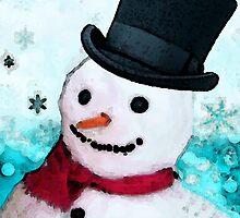 Snowman Art - Frosty by Sharon Cummings