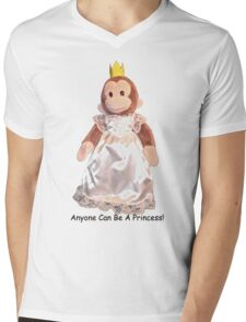 Anyone Can Be A Princess! - Black Text Mens V-Neck T-Shirt