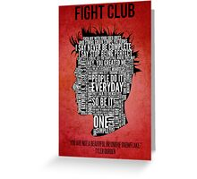 Typography Tyler Durden Uncensored Greeting Card