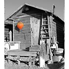 The Orange Buoy-  Fisherman's Hut Suffolk  by AndyLanhamArt