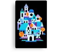Blue houses - pixel art Canvas Print