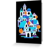 Blue houses - pixel art Greeting Card