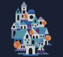 Blue houses - pixel art One Piece - Long Sleeve