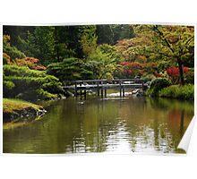 Fall in Japanese Garden, Seattle Poster