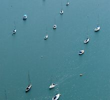 Aerial shot of boats on the river Deben, Suffolk, Uk by claudiagannon