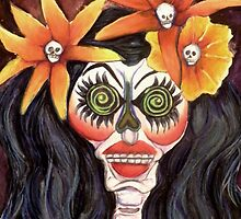 Calavera Woman with Orange Flowers by Candace Byington