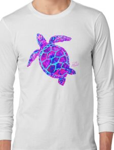 Sea Turtle Pink and Blue Long Sleeve T-Shirt