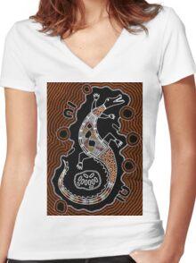 Aboriginal Art - Crocodile Authentic Designs Women's Fitted V-Neck T-Shirt