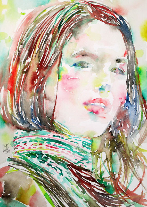 GIRL with SCARF watercolor portrait by lautir