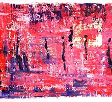 Figures in Landscape in pink and blue by Lynn Ede by Lynn Ede