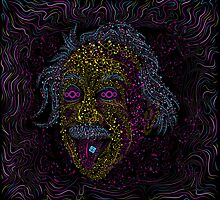 Acid Scientist tongue out psychedelic art poster by Andrei Verner